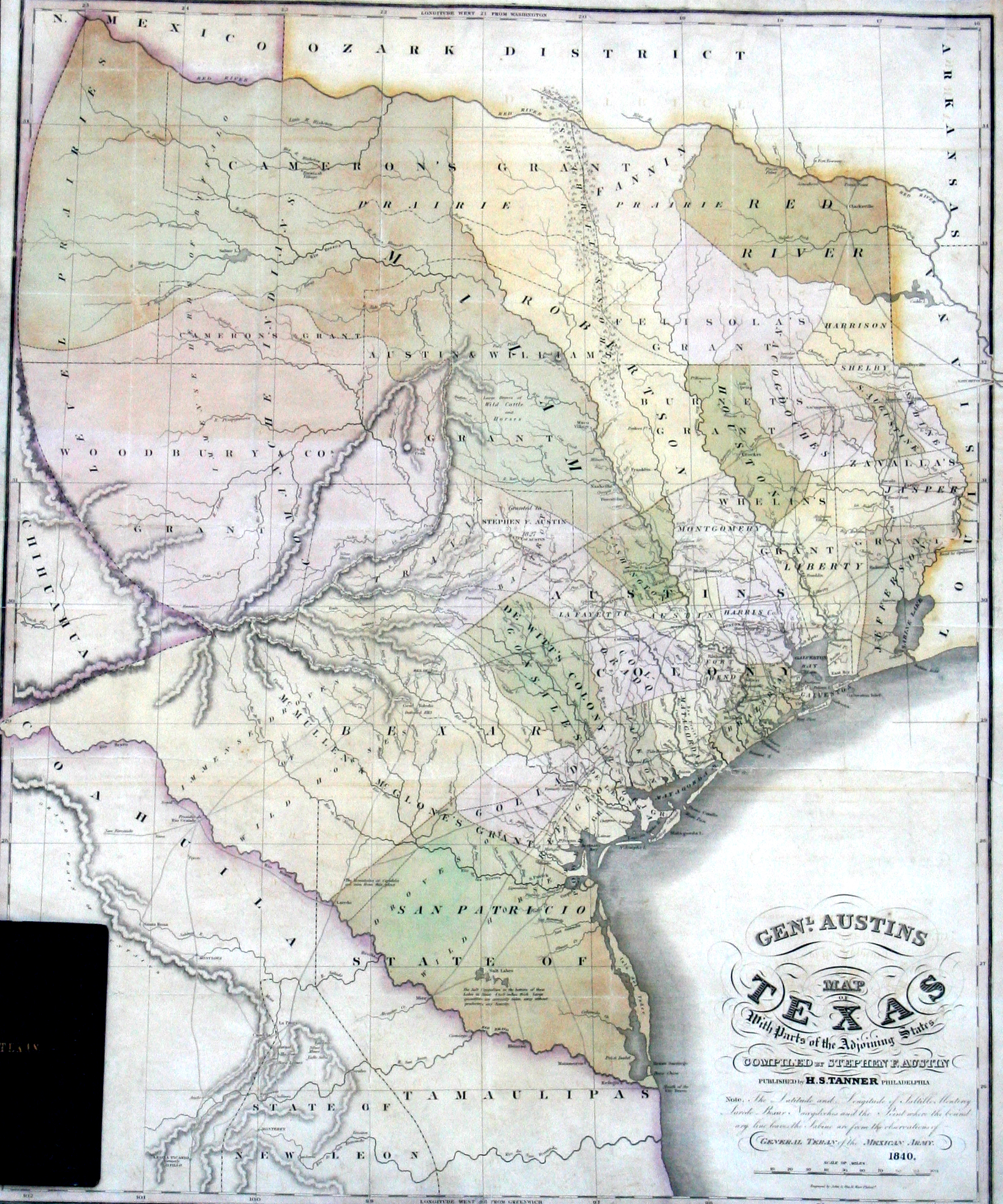 General Austins Map of Texas with Parts of Adjoining States Yana