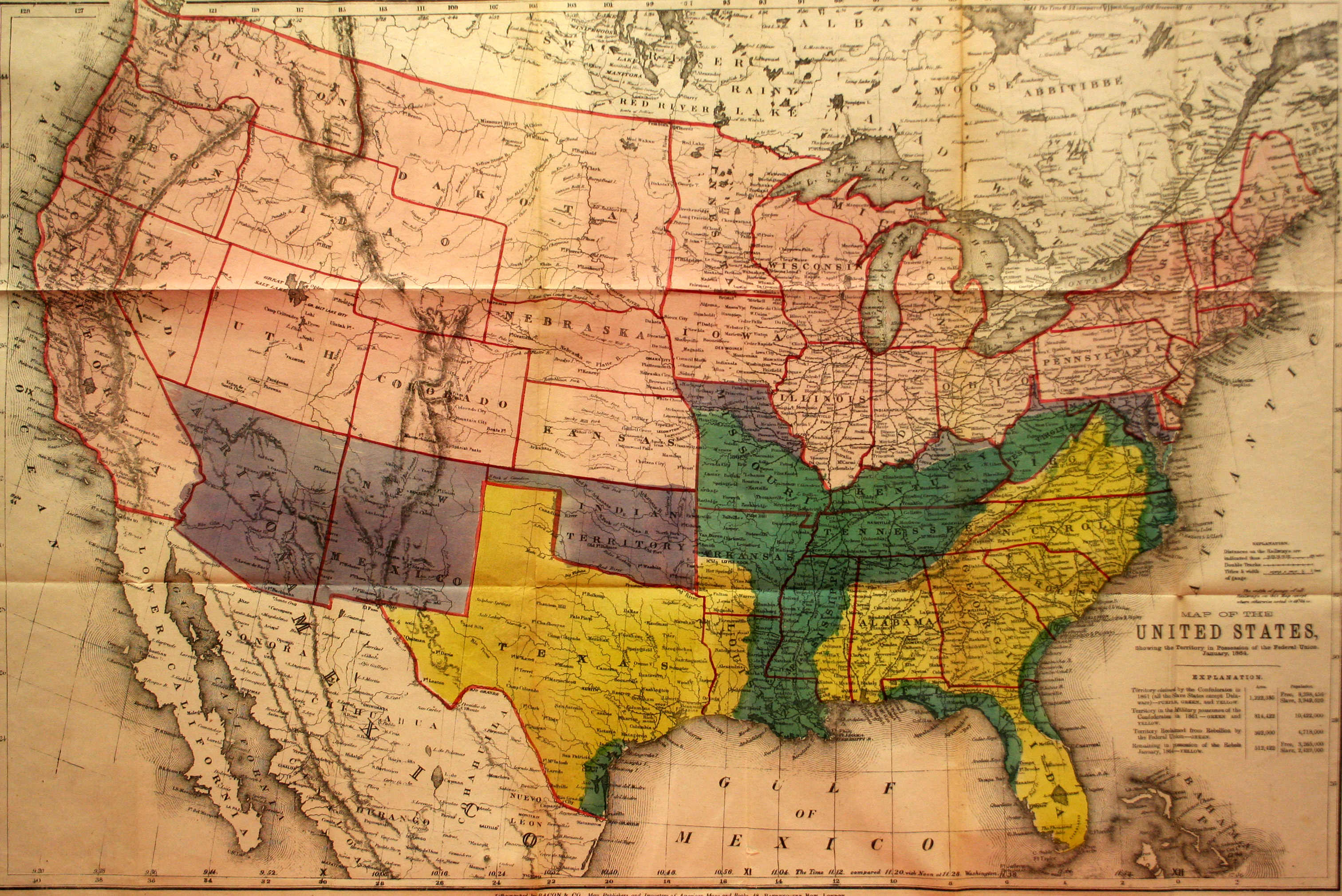 Map of the United States Showing the Territory of the Federal Union ...