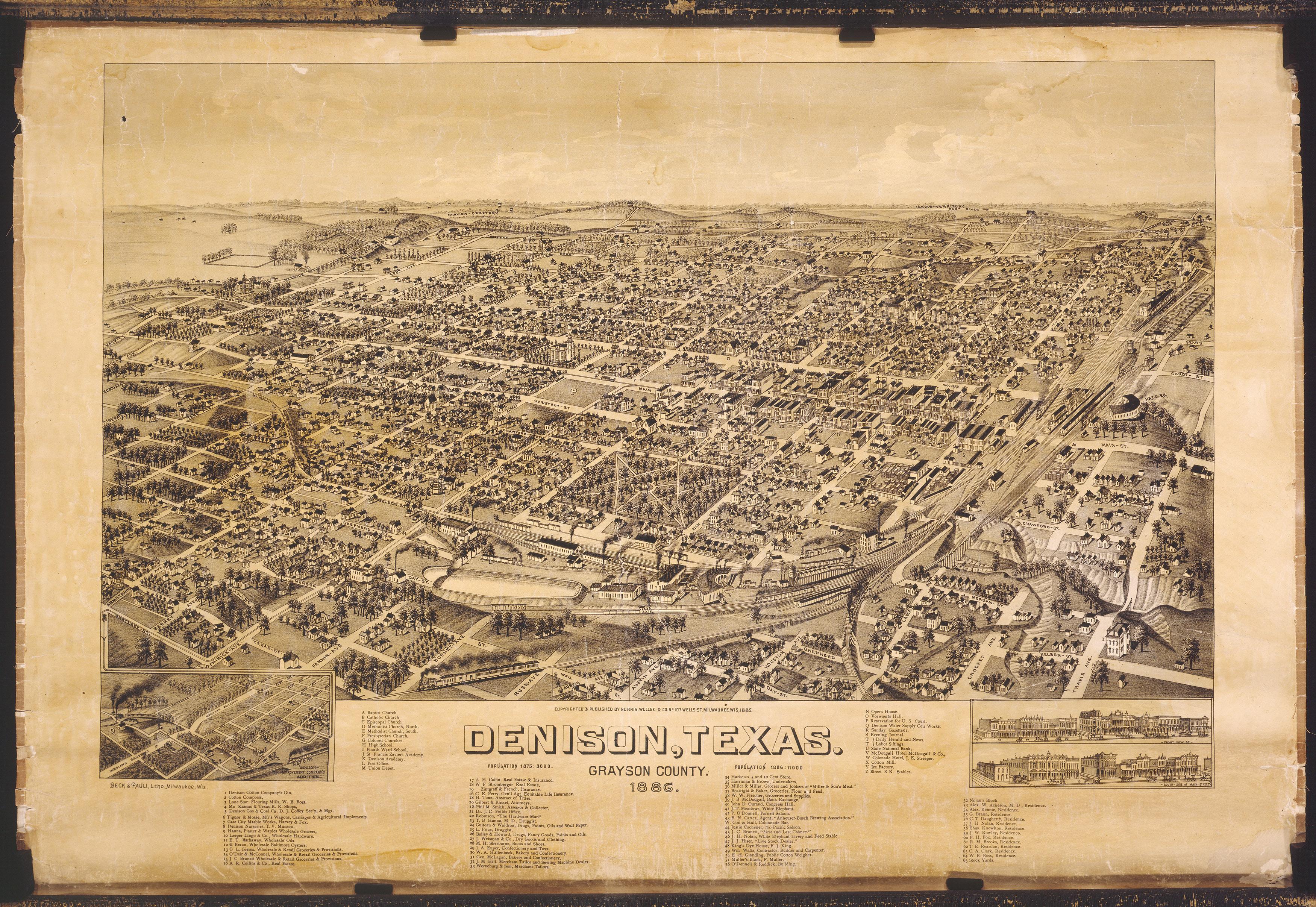 Denison Texas Map on