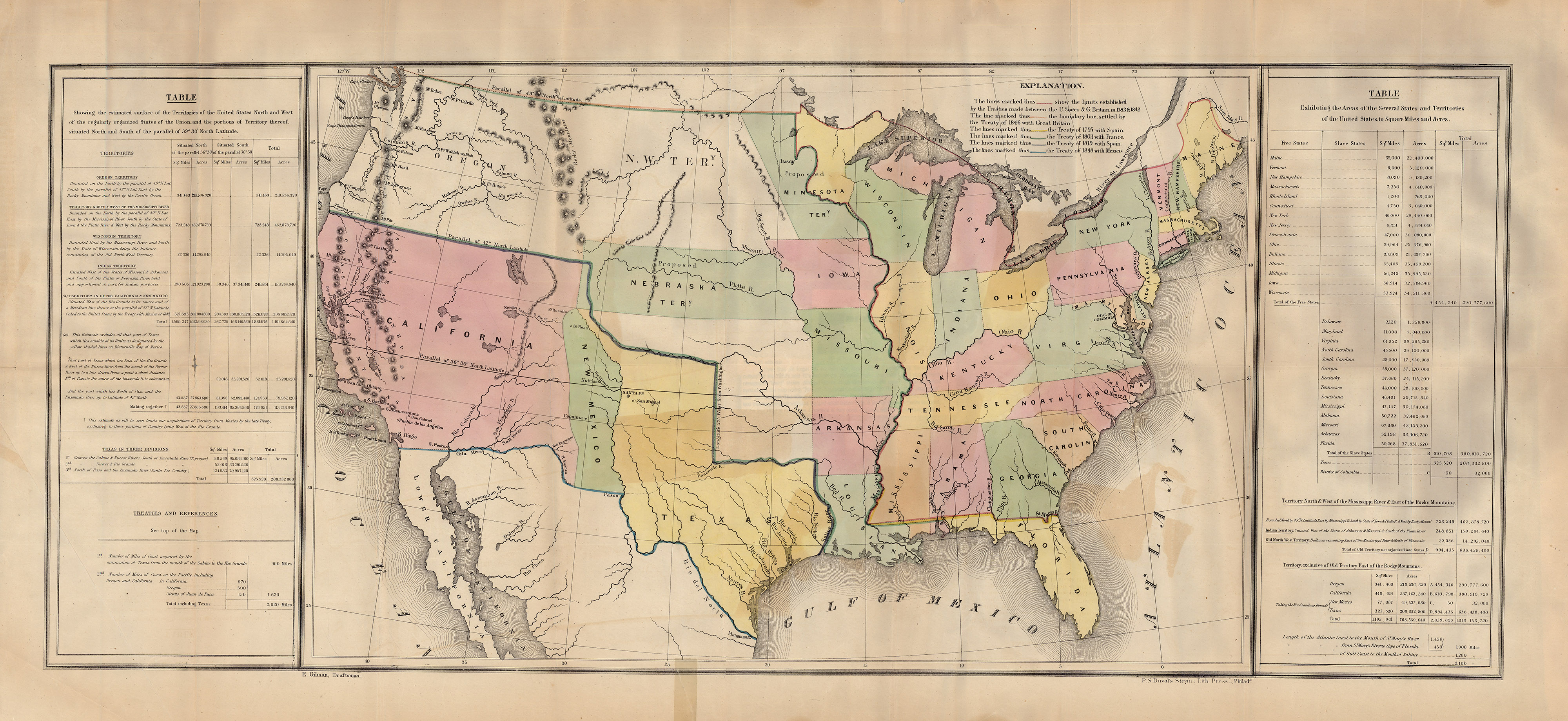 Mexico Map 1850.Lines Of Treaty Map Of The United States Between 1783 And 1848
