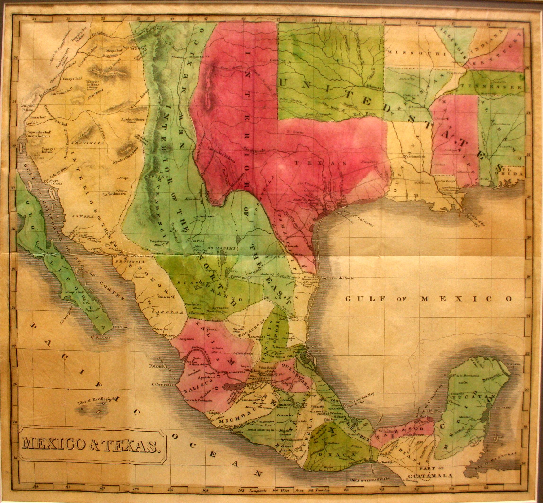 this 1837 map shows the republic of texas extending all the way to the rio grande and north to the 42nd parallel as claimed by texas and agreed to by santa