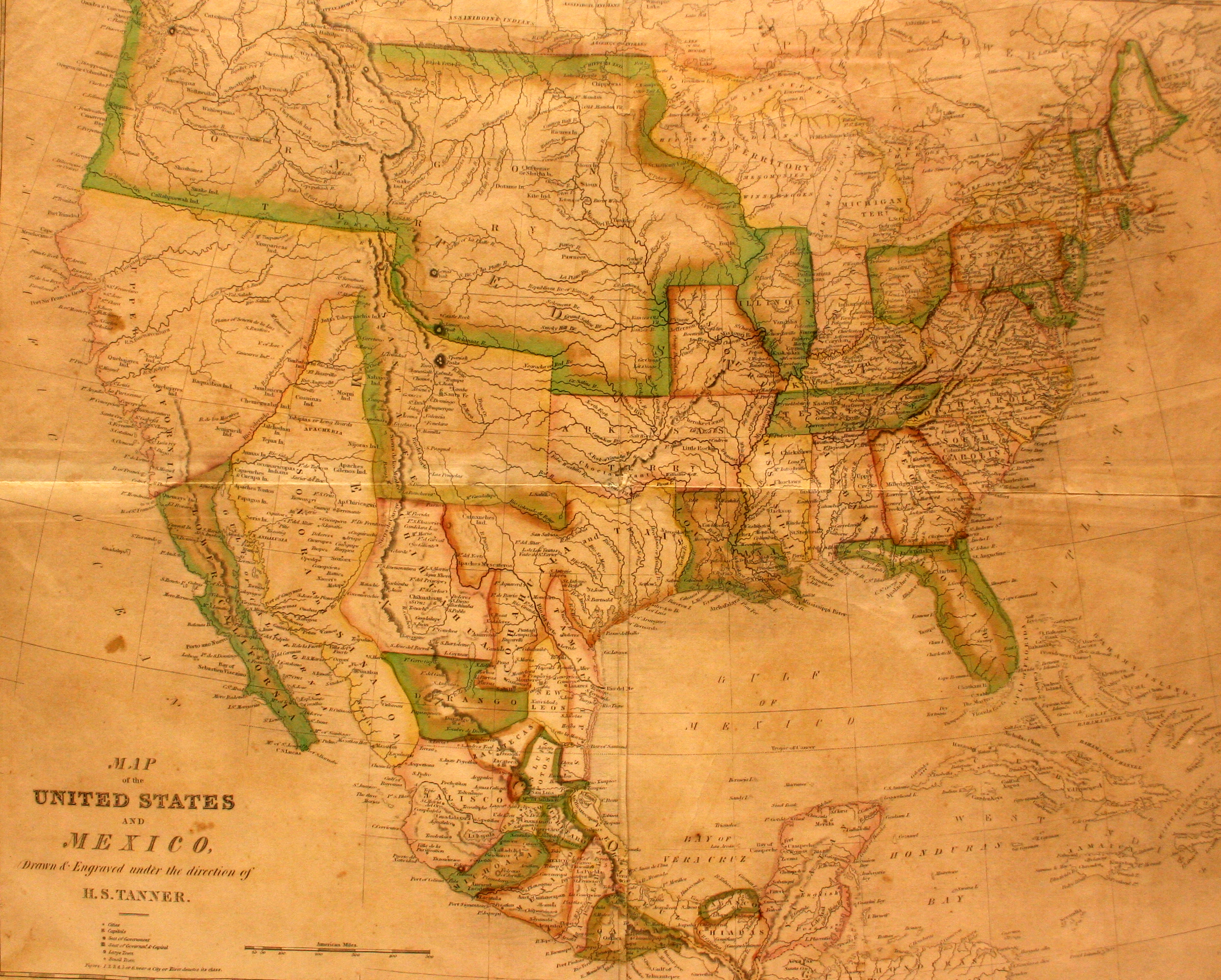 Smileys Geography Atlas Map Of The United States And Mexico - Us map 1824