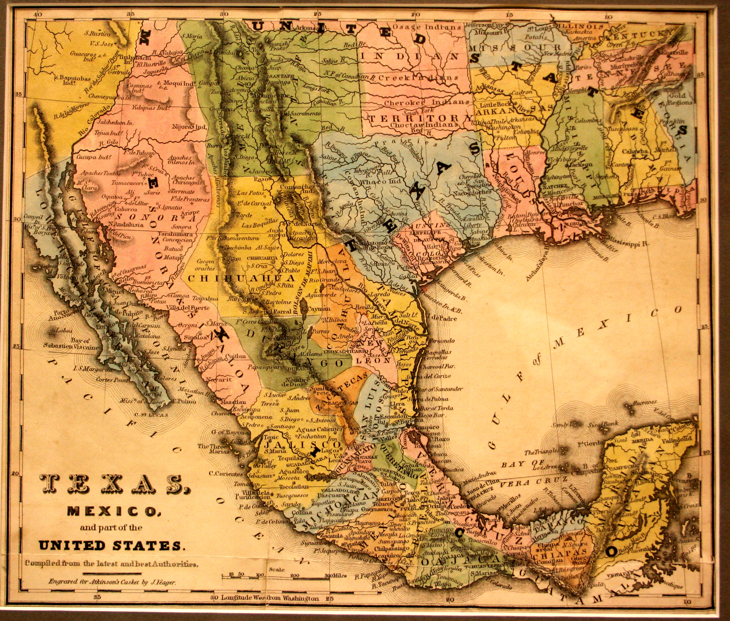 Map Of Texas Mexico.Texas Mexico And Part Of The United States Yana Marty Davis Map